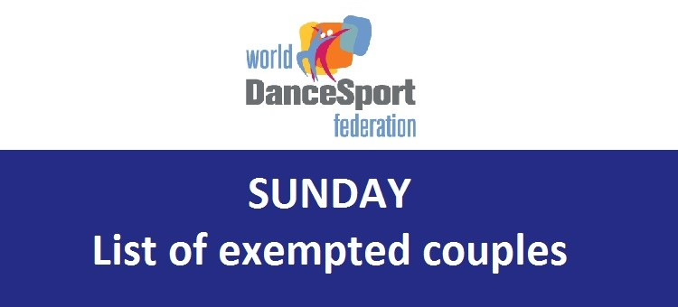 Sunday - list of exempted couples